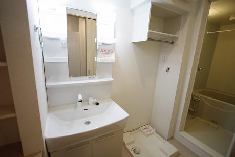 洗濯機置場の上も棚があって便利