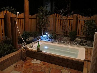 露天風呂で月見酒♬
