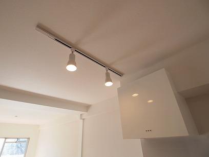 キッチンの上にレール付照明