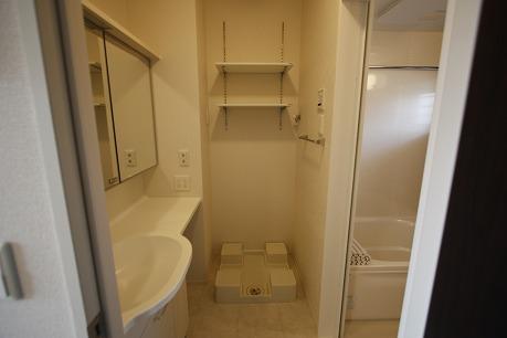 洗濯機置き場にはタオルや洗剤も置けます