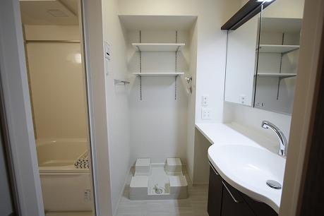 洗濯機の上にはタオルや洗剤を置くスペースもあります。