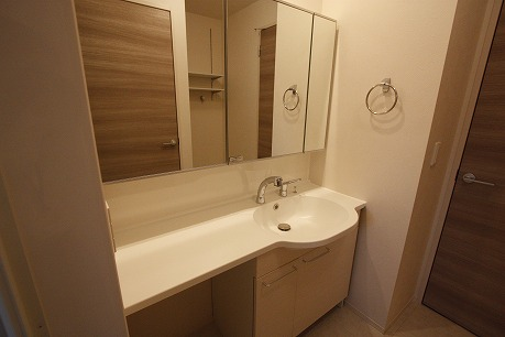 大きなが鏡の洗面台