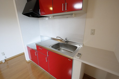 シンク横には洗った食器を置けちゃいます!調味料なども置けますね。※ブルーになります。